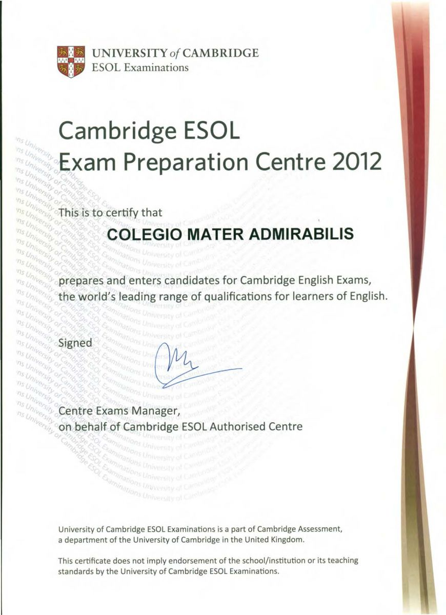 Certificado Cambridge ESOL